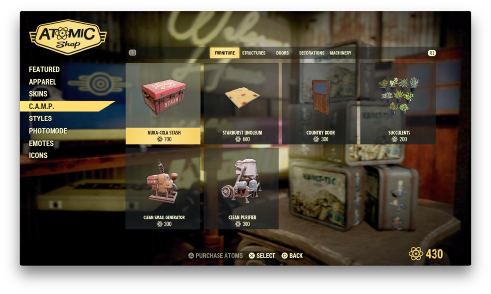 C.A.M.P items on sale in the Atomic Shop